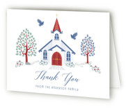 Charming Chapel Surround Baptism and Christening Thank You Cards