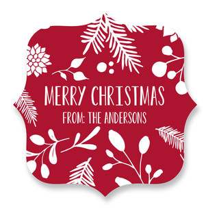 Merry Christmas Leaf Custom Stickers