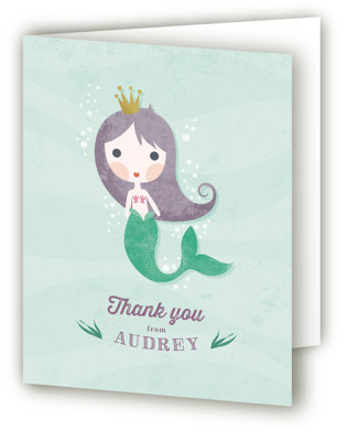 Mermaid Princess Children's Birthday Party Thank You Cards