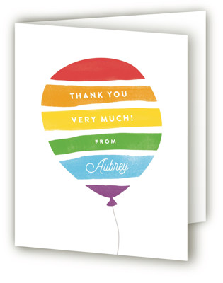 Painted Balloon Children's Birthday Party Thank You Cards
