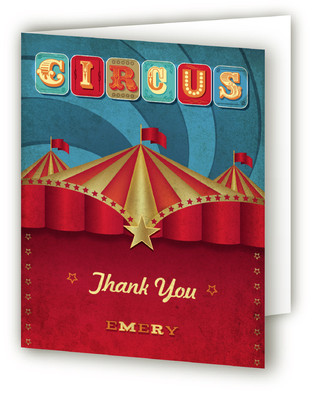 Circus Party Children's Birthday Party Thank You Cards