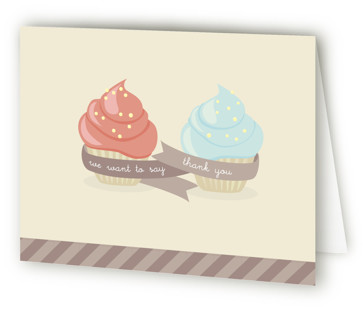 Double Cupcake Fun Children's Birthday Party Thank You Cards