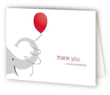Elephant Balloon Children's Birthday Party Thank You Cards