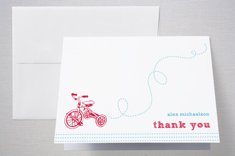 Bicycles in the Park Childrens Birthday Party Thank You Cards