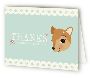 Fancy Fawn Children's Birthday Party Thank You Cards