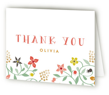 Botanical Affair Children's Birthday Party Thank You Cards