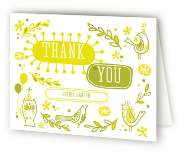 Mod Party Birds Children's Birthday Party Thank You Cards