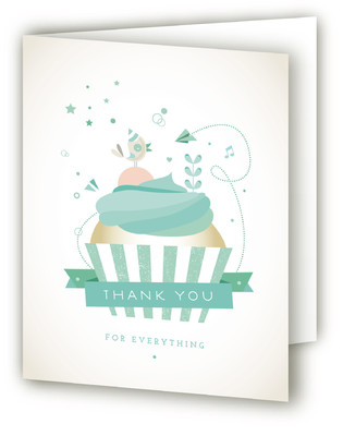 Cupcake Celebration Children's Birthday Party Thank You Cards