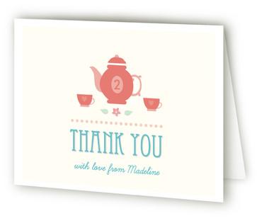 Garden Tea Children's Birthday Party Thank You Cards