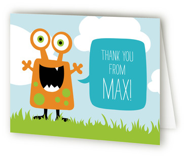 Little Monster Bash Children's Birthday Party Thank You Cards