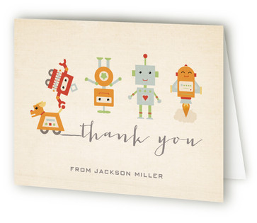 Robot Parade Children's Birthday Party Thank You Cards