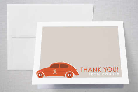 Vroom Vroom Car Childrens Birthday Party Thank You Cards