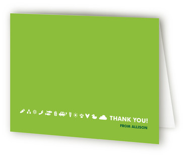 A Green Party Children's Birthday Party Thank You Cards