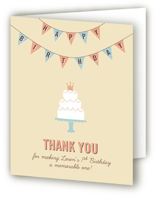 Cake and Banner Children's Birthday Party Thank You Cards