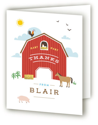 Big Red Barn Children's Birthday Party Thank You Cards