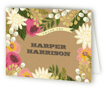 Floral Canopy Children's Birthday Party Thank You Cards
