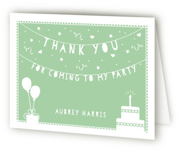 Party Time Banner Children's Birthday Party Thank You Cards