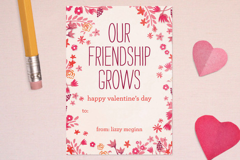 Our Friendship Grows Classroom Valentine's Cards