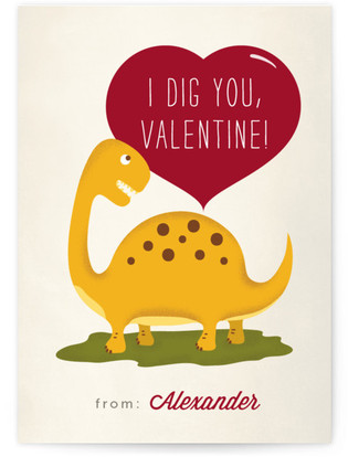 Dinosaur Dig Classroom Valentine's Day Cards