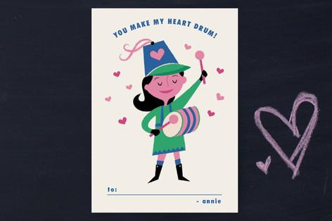 Little Drummer Girl Classroom Valentine's Cards
