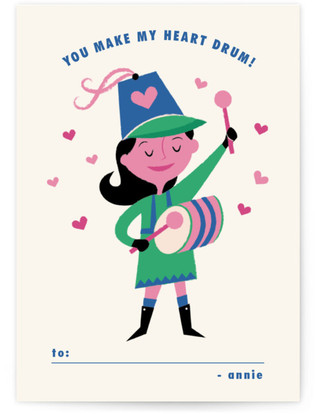 Little Drummer Girl Classroom Valentine's Day Cards