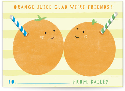 Orange Juice Glad Classroom Valentine's Day Cards