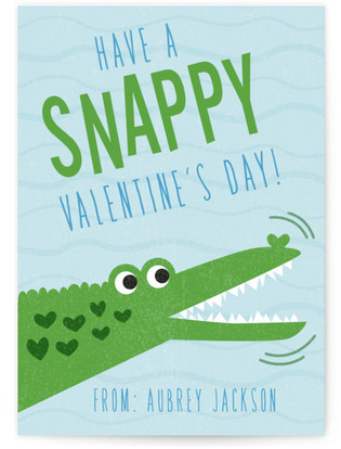 Snappy Alligator Classroom Valentine's Day Cards