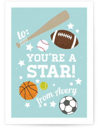 Sports Classroom Valentine's Day Cards