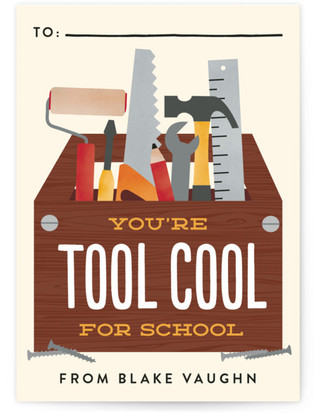 Tool Cool for School Classroom Valentine's Day Cards