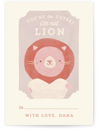 Valentine Zoo Lion Classroom Valentine's Day Cards