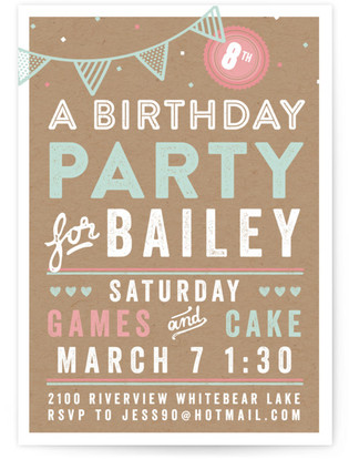 Games And Cake Children's Birthday Party Online Invitations