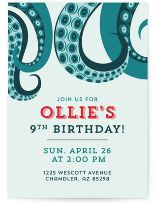 Birthday Squid Children's Birthday Party Online Invitations