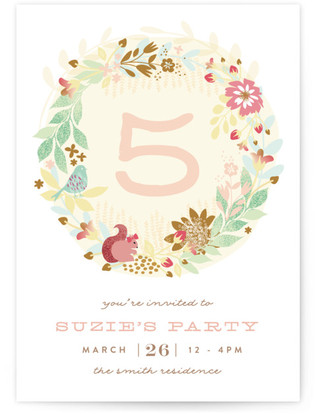 Fantasy Garden Children's Birthday Party Online Invitations
