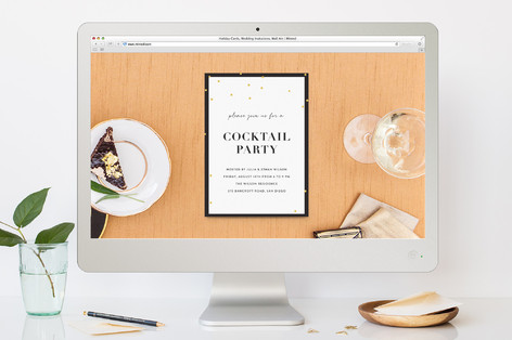 Gold Confetti Cocktail Party Online Invitations
