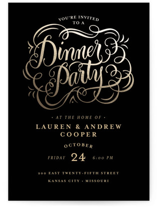 Golden Dinner Dinner Party Online Invitations
