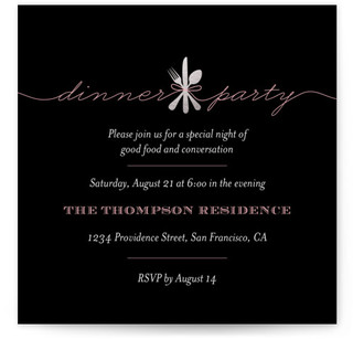 Silver & Ribbon Dinner Party Dinner Party Online Invitations
