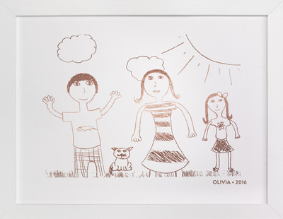 Your Drawing as Foil Art Print Drawn Foil Art