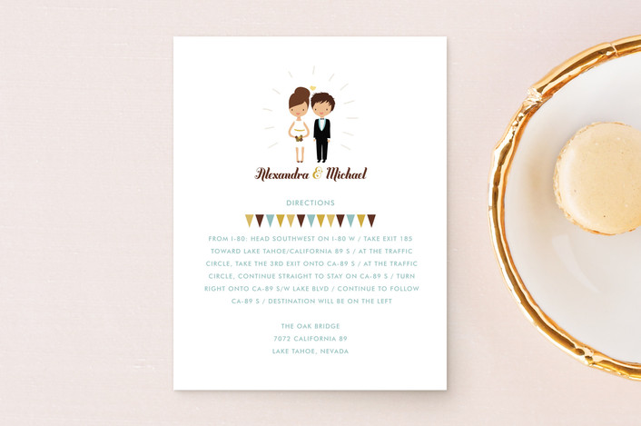 """""""Cake Toppers"""" - Whimsical & Funny Direction Cards in Canary by Zory Mory."""
