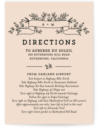 Wedding Bouquet Directions Cards