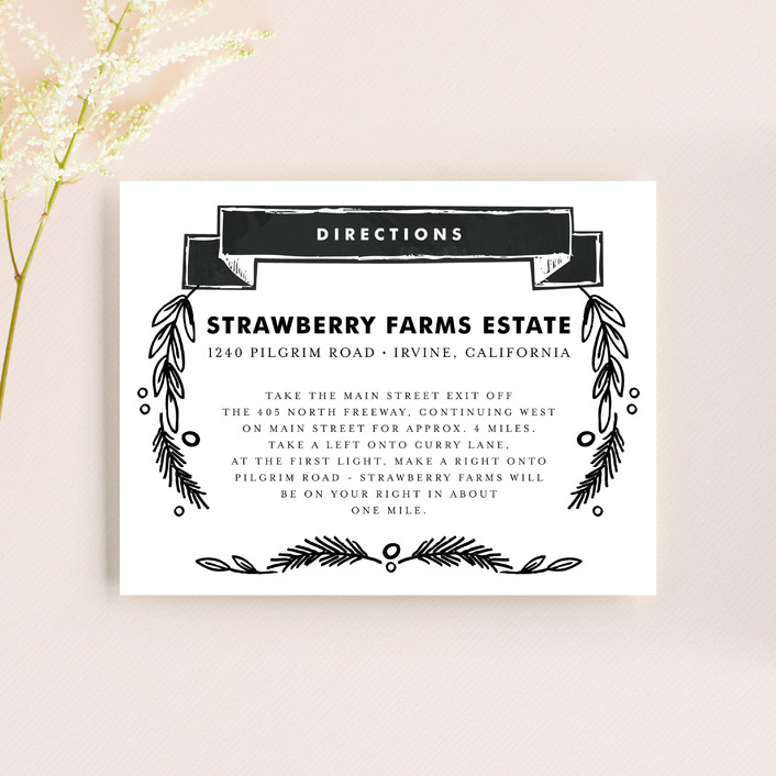 """""""Chalkboard"""" - Vintage, Floral & Botanical Direction Cards in Charcoal by Alethea and Ruth."""