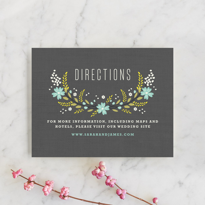"""Botanical Blooms"" - Floral & Botanical, Rustic Direction Cards in Mint by Kristie Kern."