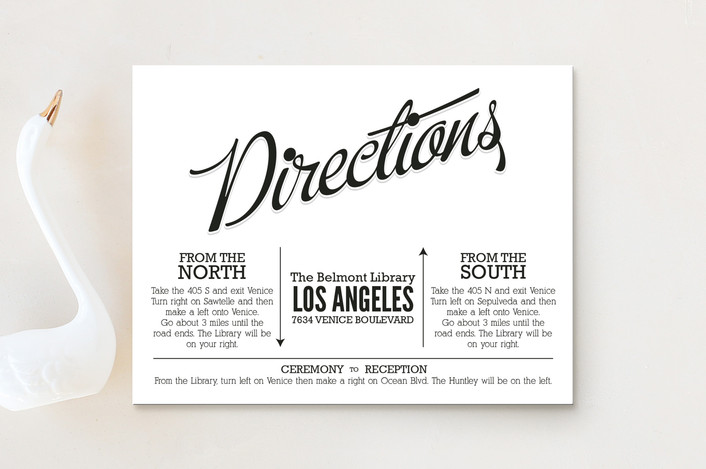 """Love Script"" - Bold typographic, Vintage Direction Cards in Midnight by GeekInk Design."