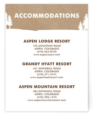 Winter Lodge Directions Cards
