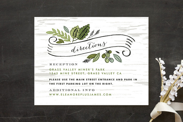 """""""Birch Bark Woods"""" - Rustic, Floral & Botanical Direction Cards in Evergreen by Alethea and Ruth."""