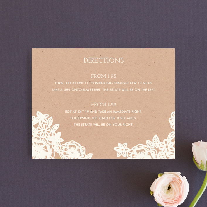 """Lace and Kraft"" - Vintage, Rustic Direction Cards in Kraft by Katharine Watson."