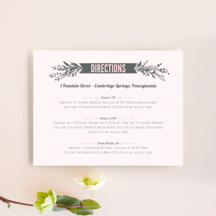 """Woodland Romance"" - Rustic Direction Cards in Blush by cadence paige design."