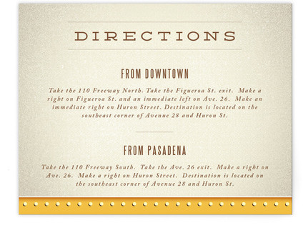 Ampersand Marquee Directions Cards