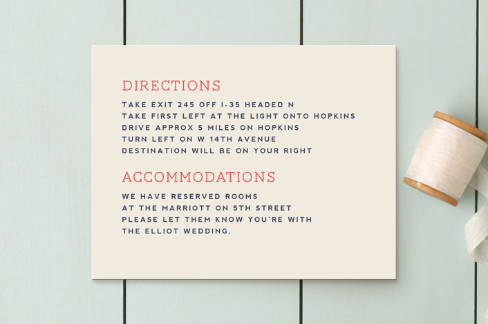 """Celebration of Love"" - Vintage, Bold typographic Direction Cards in Coral by Miranda Lyn."
