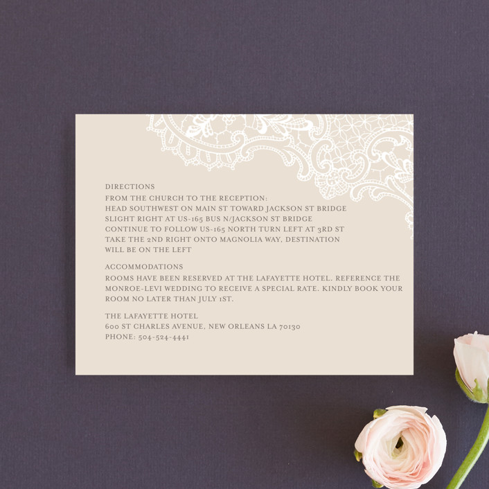 """""""White Lace"""" - Vintage, Elegant Direction Cards in Coral Rose by Lauren Chism."""