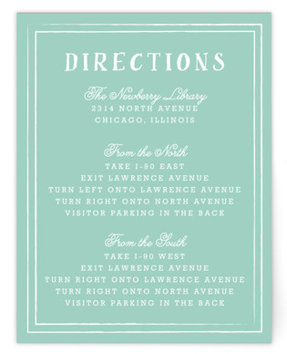 Floral Chalkboard Directions Cards